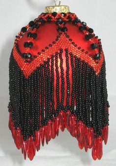Beaded Victorian Fringe Ornament in Red & Black