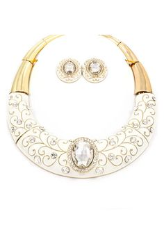 Stunning Statement Filigree Necklace in Snow White - this would be gorgeous with a solid colored red or black dress.