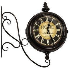 vintage antique style black duel face station wall clock new roman numerals
