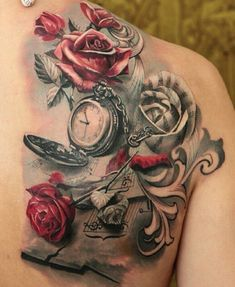 Red Roses & Black grey tattoo