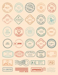 Vector of various stamp design Free Vector Bullet Journal Ideas Pages, Bullet Journal Inspo, Printable Stickers, Cute Stickers, Postage Stamp Design, Thinking Day, Journal Stickers, Aesthetic Stickers, Mo S