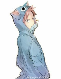 Natsu Dragneel, cute, Happy, jacket, outfit, fish; Fairy Tail