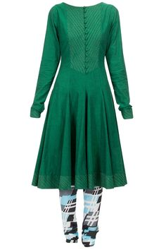 Green flared kurta with printed churidaar available only at Pernia's Pop-Up Shop.