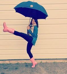 Brightening up a gloomy day with ☂ Rainy Day Fashion, Gloomy Day, Spring Summer 2016, Pink Fashion, Hunter Boots, Wisconsin, Rain Boots, Life, Shoes