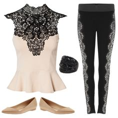 Holiday-outfits-for-pear-shaped-women- lace peplum with lace leggings/pants and nude shoes