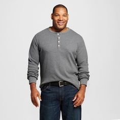 Men's Big & Tall Long Sleeve Thermal Henley Dark Gray Xxxl Tall - Merona