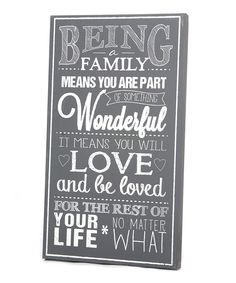 Gray & White 'Being Family' Wall Art | Daily deals for moms, babies and kids