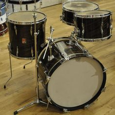 """This is truly a gem right here. This Premier """"Model drum set in mahogany duroplastic dates to the mid Sizes are and"""