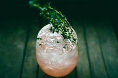 THYM, LES CALORIES! - INGRÉDIENTS  1 oz (30 ml) de liqueur d'orange 0.5 oz (15 ml) de vodka SKYY 0.5 oz (15 ml) de jus de citron 0.5 oz (15 ml) de jus de pamplemousse 1 tige de thym frais 2 fraises Soda 1 tige de thym frais (pour décorer)