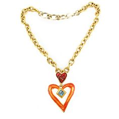 Signed Christian Lacroix Gorgeous vintage enamel hearts choker necklace - c. 1980's