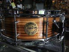 """Longo 14 x 5""""  Zebrawood Snare Drum with 3/8"""" thick steambent solid ply Zebrawood shell with maple reinforcement rings."""