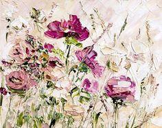 Flower Oil Painting Canvas Large Original Oil Painting Canvas Pink Oil Painting Large Pink Flowers Oil Vanilla Sky Pink Red Beige White Loft
