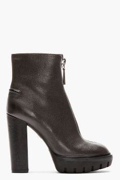 KENZO Deep chocolate brown Leather zip-front Prisci Carolina boots