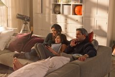 Stock Photo : A family watching television