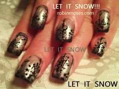 let it snow robin moses, snowflake nail, burgundy and silver nail, wine color nails, black and silver snowflakes, gothic christmas, retro christmas, nail art, retro nail, goth nail, ice blue nail, icey blue nail, let it snow collab, robinmosesnailart, let it snow, winter 2011, winter 2012, nail trends 2012, chic nails, classy christmas designs, | Your Own Nail Art