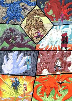 Coolest, awesome-est picture - the 9 different tailed beasts of Naruto
