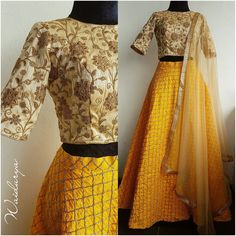 KULFI.Beautiful yellow skirt in raw silk with thread embroidery throughout. The blouse is a creme thread work and gota embroidery one. The dupatta is a beige soft net with a chevron design border in sequins. Just stunning! 12 December 2017