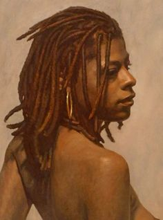 """""""Trinette"""" - Adam Forfang, oil on canvas on panel, 2010 {figurative art african-american black woman with dreadlocks cropped portrait art painting} <3"""