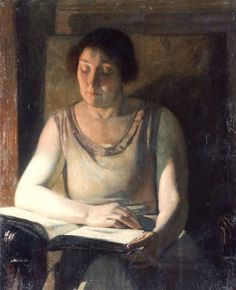Woman reading (1930-35). Emile Delobre (French, 1873-1956). Oil on canvas. The portraits of his family (with whom he lived his whole life) include his parents, sisters Louise and Marthe, and nephew Albert (whom he raised). This large Delobre painting measuring 30 x 25 in. portrays almost life-sized Marthe reading in a half-length portrait in neutral tones. Books and Art