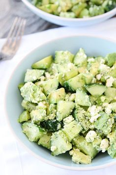 Cucumber, Avocado, and Feta Salad Recipe on twopeasandtheirpod.com. This fresh and simple salad is perfect for summer! #salad #glutenfree
