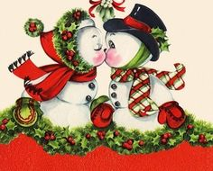 Kissing snowmen