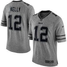 Buffalo Bills #12 Kelly Gray Gridiron Gray Limited Jersey