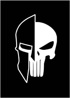 My two favorite things. Punisher Skull, The Punisher, Punisher Logo, Punisher Symbol, Punisher Tattoo, Spartan Military, Spartan Helmet, Spartan Warrior, Eren X Mikasa