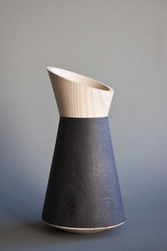Ebonised oak and ash vessel by Laurence Brand