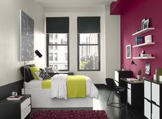 Creating an accent wall can be more than just adding paint color. See 13 inspiring accent wall ideas that can totally transform any room in your home Bedroom Red, Bedroom Colors, Modern Bedroom, Bedroom Decor, Bedroom Ideas, Urban Bedroom, Fuschia Bedroom, Bedroom Neutral, Modern Entryway