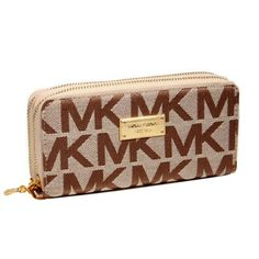 Perfect Michael Kors Jet Set Continental Logo Large Beige Wallets, Perfect You