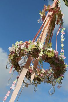 Outdoor Chandelier: adapt with silk flowers or icon of choice: How to included on girl. Inspired. (Butterfly)Chandelier