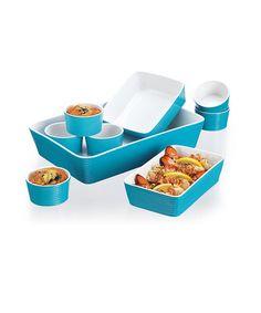 Look at this #zulilyfind! Turquoise Nine-Piece Bakeware Set by Home Essentials and Beyond #zulilyfinds