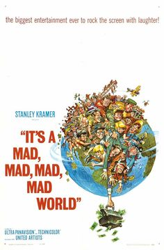 """MP837. """"It's a Mad, Mad, Mad, Mad World"""" Movie Poster by Jack Davies (Stanley Kramer 1963) / #Movieposter"""