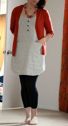 wiksten tank dress in natural linen modified with placket and pockets by wandering spirit designs, via Flickr