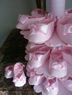 Tres niveles rosa bailarina zapato Favor pie con zapato