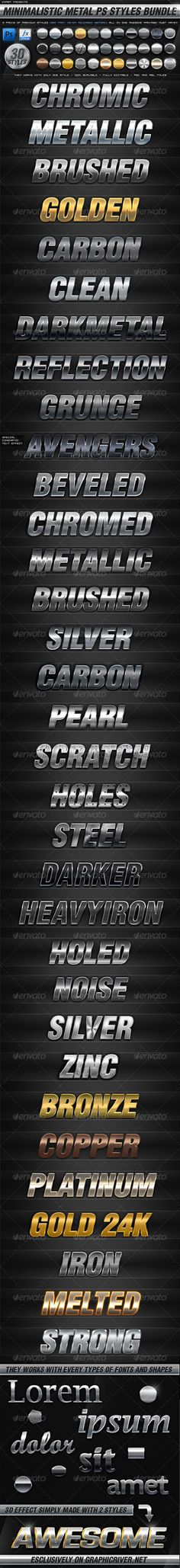 BUNDLE - 30 Minimalistic Metal PS Styles - GraphicRiver Item for Sale