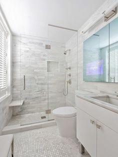 50 Amazing Small Master Bathroom Shower Remodel Ideas and Design - Bathroom Tile Designs, Bathroom Renos, Bathroom Design Small, Bathroom Renovations, Bathroom Interior, Gold Bathroom, Decorating Bathrooms, Narrow Bathroom, Bathroom Cabinets