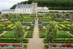 The Ornamental Kitchen Garden, or vegetable garden, at the Chateau Villandry features 50 different vegetable varieties arranged by form  color.