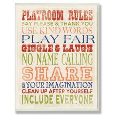 Playroom Rules.