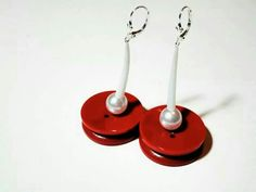 silver lever back earrings, with white coral and red vintage buttons  price : 30 EU