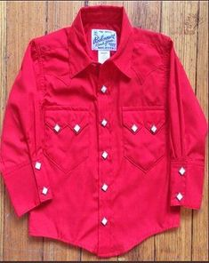 8c7b60b3 Rockmount Ranch Wear Childrens Western Shirt Solid Red Front Ranch, Western  Shirts, Vintage Men