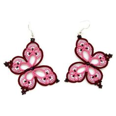 "Pink and red wine earrings ""Rainbow Butterfly tatted earrings, tatting... ($18) ❤ liked on Polyvore featuring jewelry, earrings, red jewelry, rainbow earrings, beaded jewelry, butterfly earrings and beads jewellery"