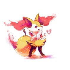 I like this pokemon :T cant wait to have the game u.u I wont have it until christmas Braixen Ash Pokemon Team, Cat Pokemon, Pokemon Eeveelutions, Eevee Evolutions, Pokemon Red, Pokemon Comics, Pokemon Fan Art, Charizard, Pikachu