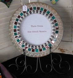 Round Wall Frame Mosaic Gold Teal and Purple by StarStruckMosaics, $35.00