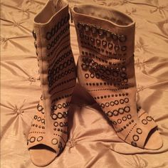 Manolo Blahnik Boots New!! Manolo Blahnik, Suede, Peep Toe, Studded Boots. Sits Right Above Ankle Manolo Blahnik Shoes Ankle Boots & Booties
