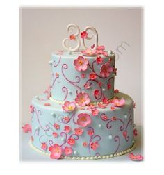 Baby Blue Birthday Cake With Cascading Pink Flowers