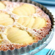 Easy non-dairy and gluten free recipe for a classic pear and almond tart.