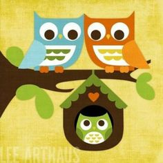 """One wise owl sitting in a tree Hooted to another, """"Come sit with me."""" Two wise owls sitting in a tree Hooted to one more, """"Come join our family."""" Three wise owls sang """"Whooo, whooo, whooo!"""" And before you knew it, away they all flew!"""