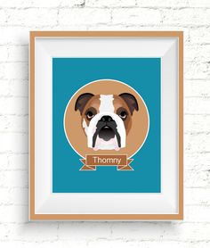 Custom Dog Portraits. Personalized pet illustrations make wonderful gifts for dog lovers. #giftsfordoglovers #doglovergift #petportrait #custompetportrait #dogportrait #customdogportrait #personalizedpetportrait #handmadepetportrait #digitalportraits #petportraitgift #customdogillustration #bulldogportrait
