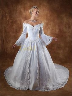 [US$287.99] White Ball Gown Off-the-shoulder Bell Sleeves Applique Embroidery Cathedral Train Wedding Gown